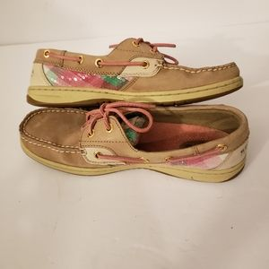 Sperry Top-Sider Tan Leather Boat Shoes Sequins